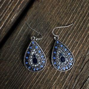 Blue and Black Silver Teardrop Earrings